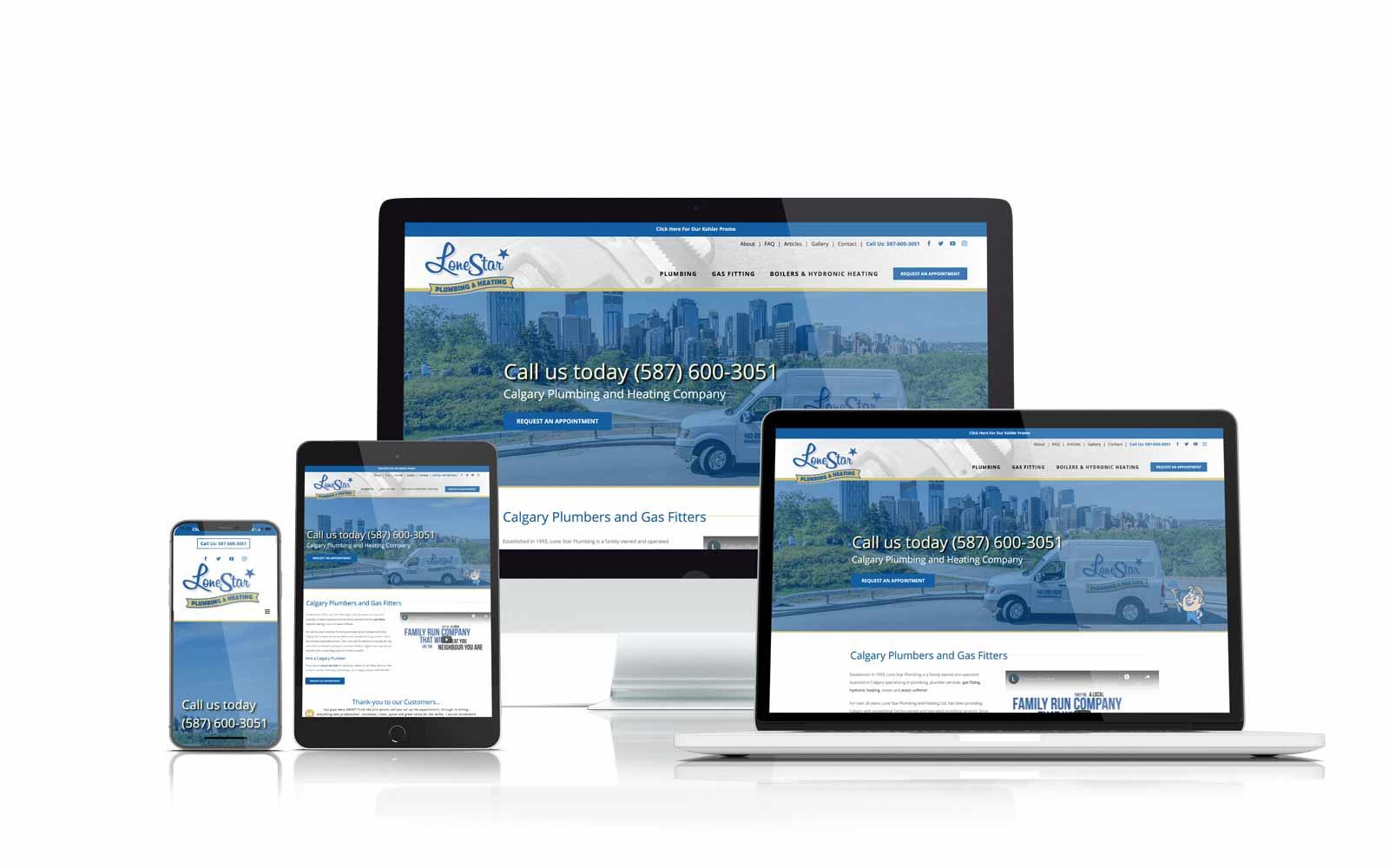 Lone Star plumbing & heating responsive website design