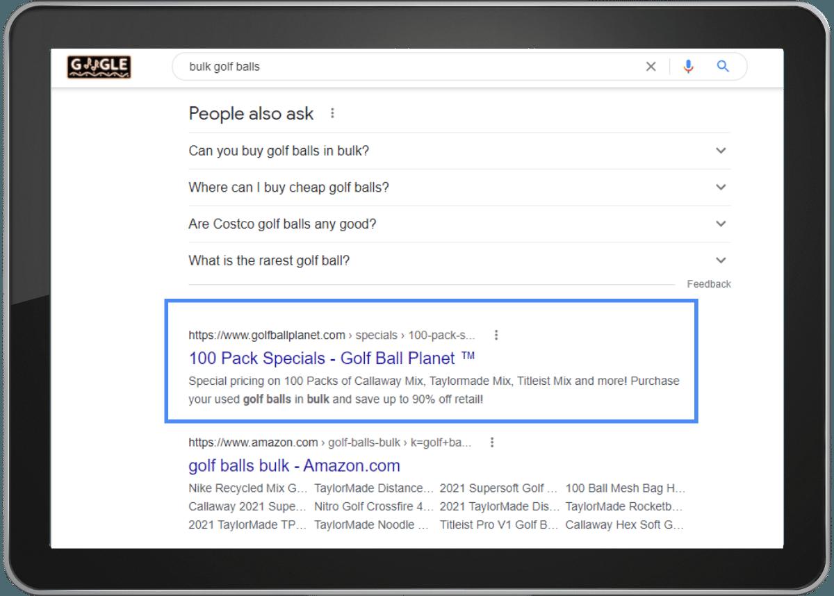 top Google search ranking for Golf Ball Planet under the keyword bulk golf balls