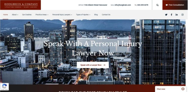 hoogbruin law firm after website redesign homepage screenshot