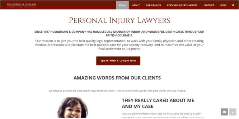 hoogbruin law firm before website redesign homepage screenshot