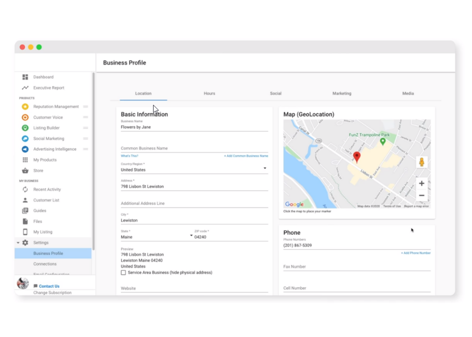 Business Listing Dashboard displays google map and empty fields related to reputation