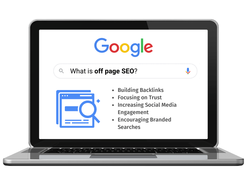 off page seo google search on laptop