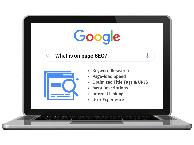 on page seo on laptop google search